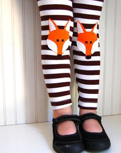 Fox Leggings Brown Stripe Girls Sizes 1218 mos 2 by thetrendytot, $29.00
