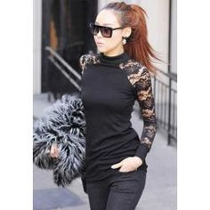 $9.11 Fitted Turtle Neck Lace Backless Long Sleeve Black T-Shirt For Women