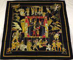 """Title: """"Les Temps des Marionnettes"""" by Annie Faivre. Brand: HERMES. This was not a 'Sale' scarf. Material: 100% Silk. There are no pull s, no stains , no holes. Size: 90cm x 90cm."""