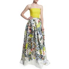 Monique Lhuillier Strapless Lace & Floral-Print Gown ($5,340) ❤ liked on Polyvore featuring dresses, gowns, yellow, strapless floral dress, yellow lace dress, yellow evening dress, strapless gown and lace gown