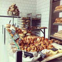 Bread!! white subway tile, black grout, bakery