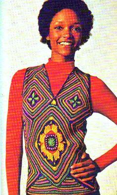 Vintage Crochet Pattern PDF 247 Granny Square Mosiac Vest Colourful Jazzy http://www.etsy.com/listing/113985717/vintage-crochet-pattern-pdf-247-granny