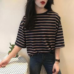 Striped T-Shirt Loose Sweet Casual For Women Harajuku Summer Short Sleeve T-shir. - Striped T-Shirt Loose Sweet Casual For Women Harajuku Summer Short Sleeve T-shirt Kawaii Funny T-shirt Ulzzang Tops Tees Source by emmakouseha - Korean Fashion Trends, Korean Street Fashion, Summer Fashion Trends, Asian Fashion, Look Fashion, Ulzzang Fashion Summer, Korean Fashion Summer Casual, Korean Fashion Ulzzang, Korean Ootd