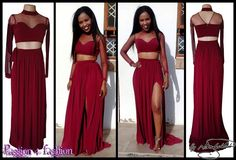Maroon 2 piece long prom dress with a gathered skirt. With a slit and belt with tie up bow detail. Crop top, sheer sleeves and neckline creating a choker. Matric Dance Dresses, Prom Dresses, Prom Dance, Gathered Skirt, Formal Evening Dresses, Formal Wear, Two Piece Skirt Set, Crop Tops, Lady