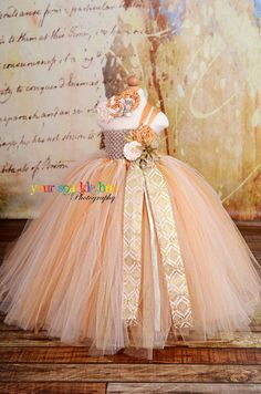 Gold Dust Glitter Tutu dress flower girl ivory champagne gold rosettes nb-4t. $94.95, via Etsy.