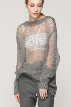 Grey Knit Cut-out Top