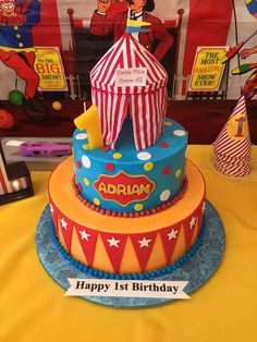 Awesome circus birthday party cake! See more party ideas at CatchMyParty.com!
