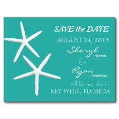 Starfish Lagoon Blue Wedding Announcement Postcard