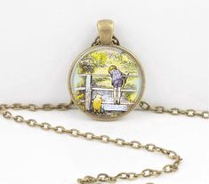 Winnie-the-Pooh classic illustration Pooh and Christopher Robin Pendant Necklace or Key Ring by northstarpendants. Explore more products on http://northstarpendants.etsy.com