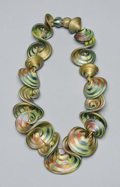 "Necklace | Elise Winters. ""Roil"". Polymer clay, acrylic paint, nylon coated steel cable, magnetic clasp"