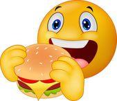 Cartoon Emoticon smiley eating hamburger — Stock Vector #63474135
