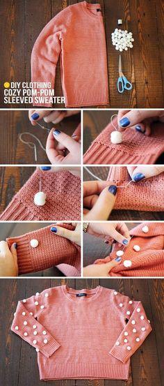 DIY : Cozy Pom Pom Sleeved Sweater