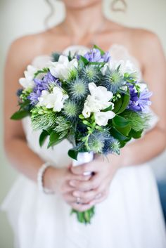 A beautiful soft looking blue and white bridal bouquet by Tracy Clements, Unique Flowers and Fine Art, Perth Western Australia 0421650261, photo by Jemma Keech Photography, hair by Tanesha Melhuish and make up by Erin Latkovic