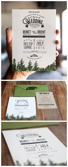 Letterpress and Watercolor Mountain Wedding Invitation: Rustic Trees and Forest #weddinginvitation