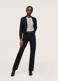 Jean Straight, Black Denim, Mango, Cotton, Fitness, Jeans Women, Hong Kong, Suits, Woman