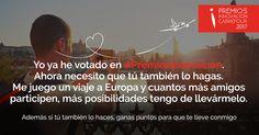 Yo ya lo he hecho, ¿tú quieres un viaje a Europa?  Pues vota en #PremiosInnovación, son dos minutos, aquí> www.premiosalainnovacion.es