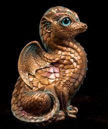 Fledgling Dragon - Copper Patina (teal eyes)