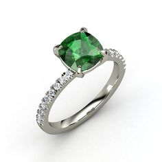 Cushion Emerald 14K White Gold Ring with Diamond | Cecilia Ring | Gemvara