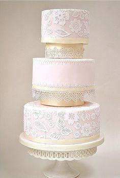 Found on WeddingMeYou.com - Vintage Lace Inspired Wedding Cakes - lace ivory and champagne #weddingcake
