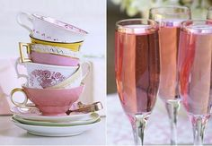 pink champagne + decorated vintage tea cups for a bridal shower