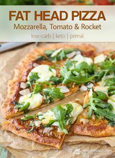 Fat Head Mozzarella, Tomato & Rocket Pizza (low-carb, keto, primal) - looks super yummy!!!!