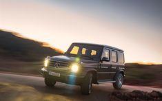 Download wallpapers 4k, Mercedes-Benz G-Class, headlights, 2019 cars, offroad, G-Class, motion blur, SUVs, new G-Class, Gelendvagen, german cars, Mercedes