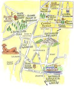 mexico city illustrated map thecrazycities crazymexicocity