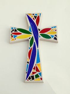 "Mosaic Wall Cross, Abstract Floral Design, Bold + Bright Colors with Light Sand Base + Grout, Handmade Stained Glass Mosaic 12"" x 8"" by GreenBananaMosaicCo"