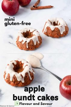 Gluten-free Mini Apple Bundt Cakes made with a combination of almond flour and a gluten-free flour blend are sweetened with coconut sugar. Top with cinnamon cream cheese glaze for extra yum! #glutenfree #mini #apple #bundt Apple Bundt Cake Recipes, Dessert Cake Recipes, Apple Desserts, Frosting Recipes, Apple Recipes, Cupcake Recipes, Baking Recipes, Snack Recipes, Fall Recipes