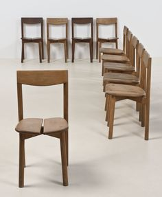 Pierre Gautier Delaye; Pine Side Chairs, 1960s. Pine Chairs, Dining Chairs, Wood Chairs, Ski Lift Chair, Black Leather Chair, Mid-century Modern, Mid Century, 1960s, Interior Design