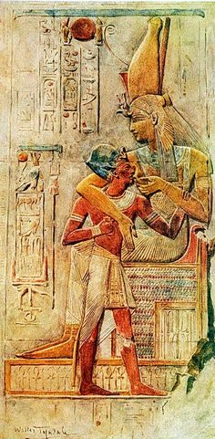 Isis Suckling Seti I, Abydos. Nursing Mythology Ancient Egypt Art , Watercolor of Seti I suckling on Isis, the goddess of nature and motherhood. Seti I was a pharaoh during the Nineteenth dynasty, and was the father of Ramesses II. This relief was found at the temple at Abydos.This piece was illustrated By Walter Tyndale (1855–1943) 13 x 22 cm