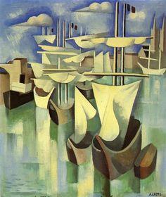LHOTE-Bateaux au port (1918-1920) Huile sur toile (56 x 46)