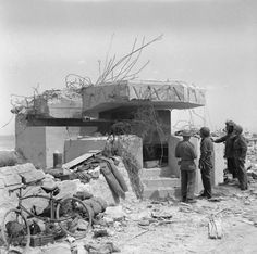 A destroyed German gun Battery at Gold Beach post D Day June 1944