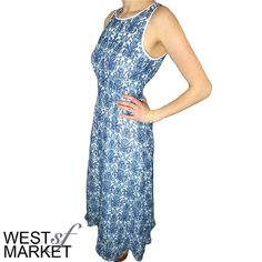 -SPRING SALE-  Open Back Dress Beautiful dress with blue porcelain print. Open back with pearl closure at neck. Fully lined polyester, feels similar to chiffon. West Market SF Dresses Midi
