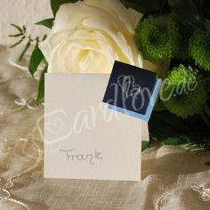 Tischkarte Vandona silberne Herzen zur Silberhochzeit oder Hochzeit