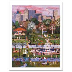 Jane Wooster Scott Springtime In Central Park, Limited Edition Lithograph -
