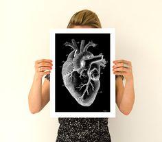 Human heart, black poster Anatomy Art A3 poster- Anatomical art prints, wall art poster PWS029