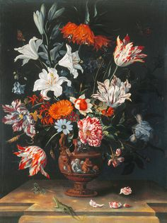Jacob Marrell (1613-1681) : A still life of tulips and other flowers in a stone vase on a marble ledge, with a green lizard - Private collection
