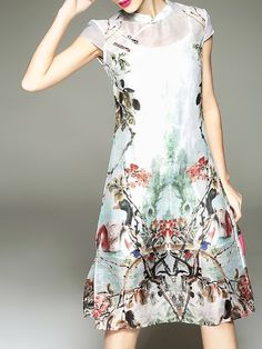 67d4e7ddd2f StyleWe · Spring · Shop Midi Dresses - Vintage Elegant Stand Collar Printed  A-line Midi Dress online.
