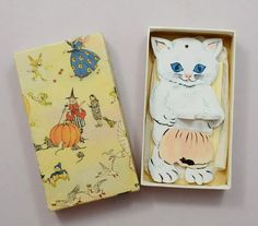 1920s Toothbrush Holder White Cat Wood Wall Hanging Box Fairy Tale