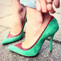 Malone Souliers​' green suede, red lizard 'Emanuelle' pumps