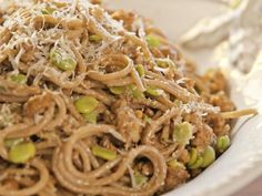 Get Spaghetti with Chianti and Fava Beans Recipe from Food Network
