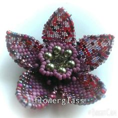 Clematis Flower BROOCH hand sewn seed beads by FlowerglassEvie