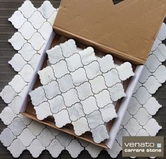 $16.95 Carrara Arabesque marble mosaic tile available in Polished and Honed.