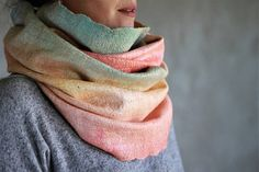 Soft scarf women scarf felted scarf orange merino wool scarf infitiny scarf wool hood silk cowl hooded scarf ombre scarf thin neck warmer. Hand made felted shawl for her. I used only softest superfine Australian merino wool and pure silk to make it. Merino is very soft, it doesnt irritate your skin. Colors - orange wool and ombre (orange, green, yellow) silk. Double loop scarf measures about 75 cm (29 inches) long and 50 cm (19 inches) wide. If you need other colors or other size, write me…