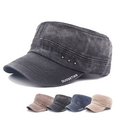 High-quality Mens Vintage Washed Cotton Flat Top Hats Outdoor Exercise Army Hat Baseball Caps Adjustable - NewChic Mobile