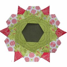 Rose Star quilt block by Possum Blossum.  The center is a hexagon; English paper pieced.  Tutorial by Clare at Summerfete | Self Sewn