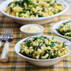 Love the flavors in this easy Macaroni with Greens, Lemon, and Parmesan; for lower carbs just use more greens and less pasta. (Meatless Monday) [from KalynsKitchen.com]