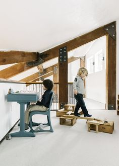 Kids Room, Playroom Room Type, Chair, and Toddler Age The kids play in a refurbished loft above the kitchen/dining area. Healthy Recipes For Weight Loss, Super Healthy Recipes, Dining Area, Kitchen Dining, Toddler Age, Playroom Design, Modern Kids, Room Chairs, Kids Room