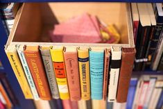 Glue hardcover book spines to a wooden box and create a secret bookcase compartment.